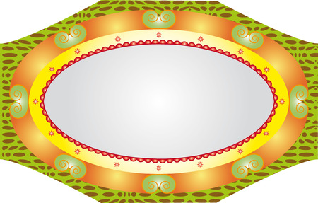stylistic: Oval massive stylistic mirror frame isolated on white