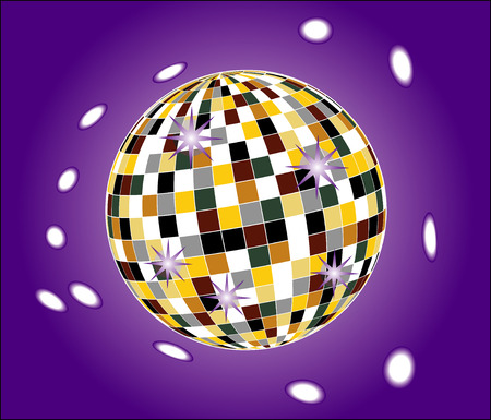 Mirror Ball: Colorful mirror disco ball over a violet background, 3D, EPS10