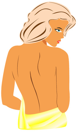 nude woman back: Woman silhouette, back beautiful sexy nude woman silhouette on white background