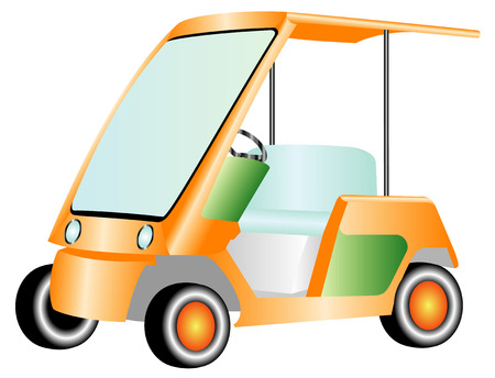 Golf car, electric car  Colorful golf cart on white background Vector