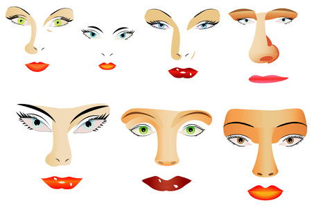 eyelids: Face elements  Set of different eyes, lips, noses on white background