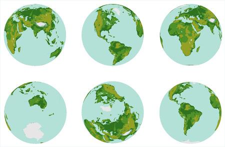 Globe kit  Six globe map 3D on white background