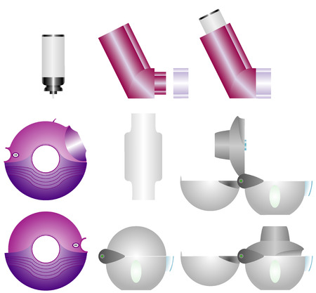 asthma: Asthma inhalers  Set of inhalers for the treatment of bronchial asthma on a white background