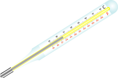 sick malady: Medical mercury thermometer Celsius, Fahrenheit on a white background