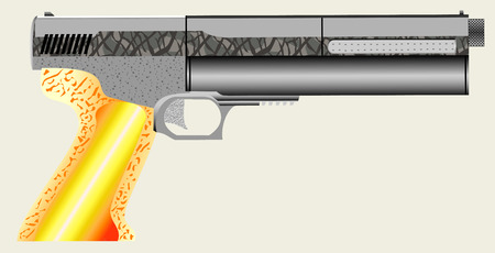 Closeup of a air pistol  This is actually a compressed air pistol, although looks very real  Illustration
