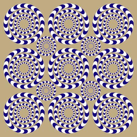Girar círculos (ilusión). Ilusión óptica. Ilusión óptica Spin Cycle. Patrón de fondo de ilusión óptica. Fondo brillante con la ilusión óptica.