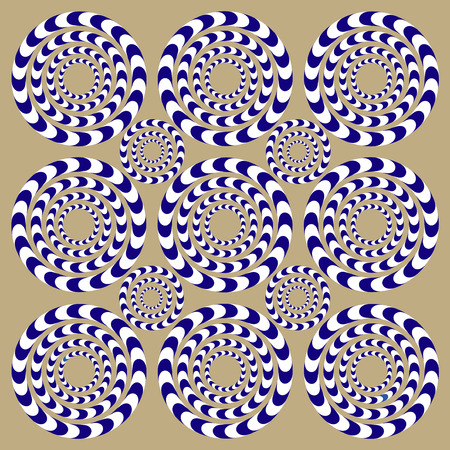 kaleidoscope: Spin Circles (Illusion). Optical Illusion. Optical illusion Spin Cycle. Optical illusion background pattern. Bright background with the optical illusion