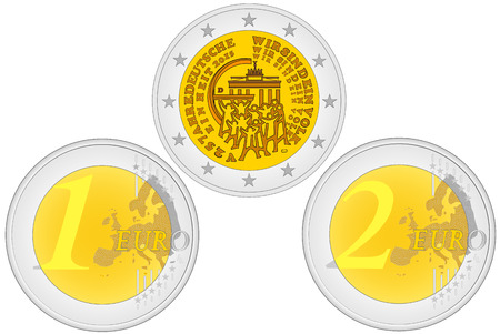 reverse: Metal coins. Set of coins with a face value. Obverse and reverse of euro. One and two euro coin - European Union money Illustration
