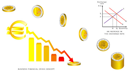 money euro: Euro coins falling, 3D. Obverse and reverse of euro. Euro coin - European Union money. Euro Currency Collapse. Exchange rate. Business financial crisis concept.  An increase in the exchange rate