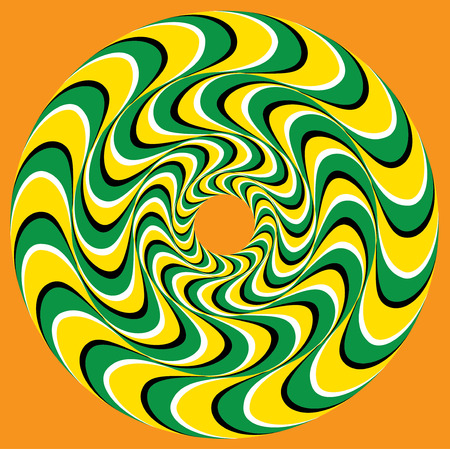 Hypnotic Swirly Sphere. Optical illusion background. Swirl pool Rings (motion illusion).