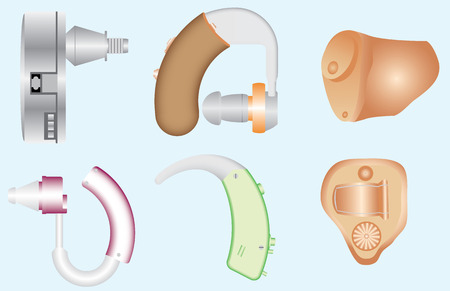 Hearing Aids. Hearing aids different kinds. Types of Hearing Aids - Behind the ear, Completely in the canal, In the ear, In the canal. Ear hearing aid. Implantable hearing aids