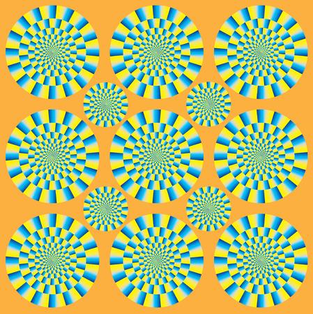 回転の催眠ショー。円動きの錯覚をスピンします。光学錯覚スピン サイクル。光学錯覚の背景パターン。明るい背景に光イリュー ジョン