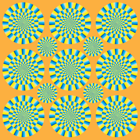 Hypnotic show of rotation. Spin Circles motion illusion. Optical illusion Spin Cycle. Optical illusion background pattern. Bright background with the optical illusion Illustration