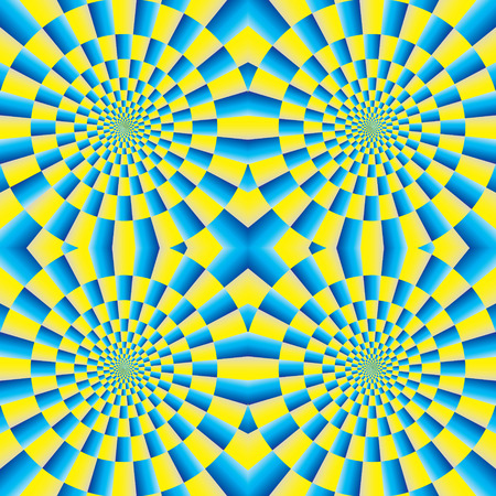 optical image: Optical illusion of motion. Optical illusion background pattern. The optical illusion of movement executed in the form of rotating. Seamless background.