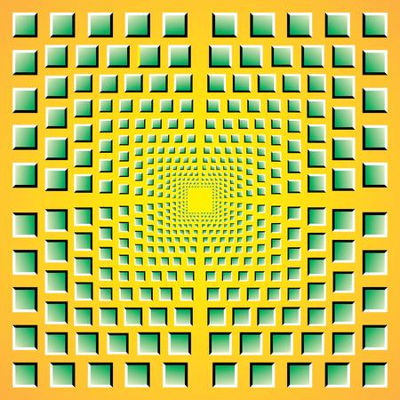 無限トンネル。オプティカル ・ アートの無限のトンネル。色の錯覚催眠の背景を正方形します。トンネル ビジョン錯視。トンネル効果抽象の抽象