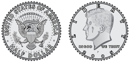 dollars: Metal coins - half dollar. Set of coins with a face value. Obverse and reverse of half dollar. Half dollar coin - USA money Illustration