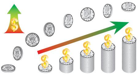 increase diagram: Dollar growth, 3D. Financial Success Concept. Increase dollars diagram. Business currency rising graph teamwork dollars on white background
