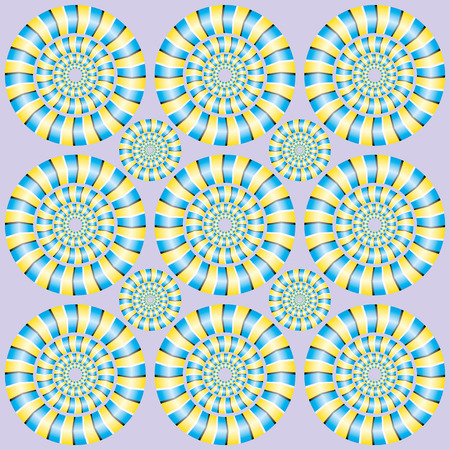optical instrument: Show of rotation. Fascinating optical illusion. Seamless background with optical illusions of rotation. Optical illusion Spin Cycle. Illustration