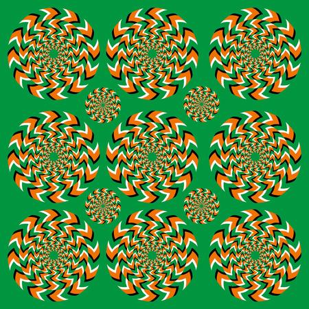 Perpetual rotatie illusie. Hypnotische rotatie. Hypnotiserende show van rotatie. Naadloze achtergrond met heldere optische illusies van de rotatie. Optische illusie Spin Cycle. Stock Illustratie