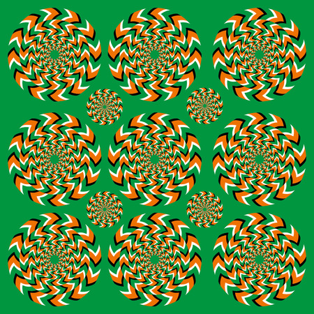 illusions: Perpetual rotation illusion. Hypnotic of rotation. Hypnotic show of rotation. Seamless background with bright optical illusions of rotation. Optical illusion Spin Cycle.