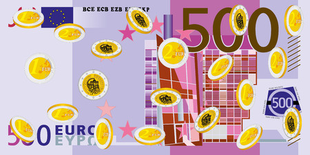 wealth concept: Coins Rain - euro. Falling money, lots of coins symbolize money rain. Obverse and reverse of euro. Stack of coins for wealth or lucky concept design. Look of the back detail of the 500 Euro bill.