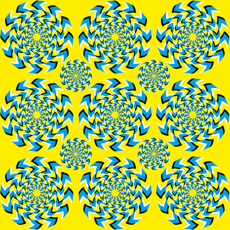illusions: Hypnotic of rotation. Perpetual rotation illusion. Hypnotic show of rotation. Seamless background with bright optical illusions of rotation. Optical illusion Spin Cycle.