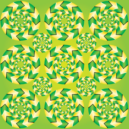 illusions: Fascinating optical illusion. Show of rotation. Seamless background with optical illusions of rotation. Optical illusion Spin Cycle