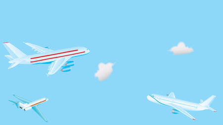 supersonic plane: Passenger airplanes. Big passenger airplanes in the sky. Three aircraft are flying in the blue sky with cumulus clouds. Passenger airplane in the clouds.