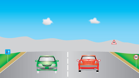 autobahn: Cars on highway. Autobahn road, signs, cars and vehicles on highway. Motor vehicles driving on highway, vehicles on highway. Motor cars driving on the country road.