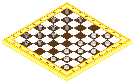 checkerboard: Checkerboard with checkers. Board game for children and adults. Chessboard in perspective. Wooden checkerboard with checkers spaced Illustration