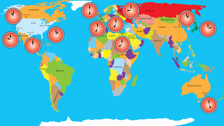 zones: Time zones. Hacking time zones. World Map with time zones. World Map background with clocks. Business background, globe with clock over world map