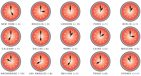 time zones: Clocks with time zone. Clocks Time Zones. World clock, time difference in major cities. Wall clock for every hours, to indicate world international time zone
