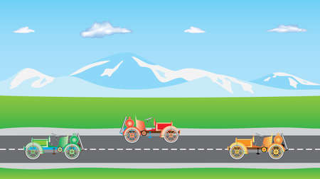 horizon over land: Cars on the road. Cars on two-way road. Road Traffic on a Highway. Cars on a suburban road. Automobile traffic in both directions on a highway Illustration
