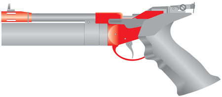 traumatic: Air pistol. Pneumatic pistol. Traumatic air gun for self-defense or sport. Modern air gun on white background