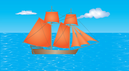 schooner: Sailing Ship. Schooner with beautiful red sails on the sea. Old wooden sailing ship under full sail on the sea