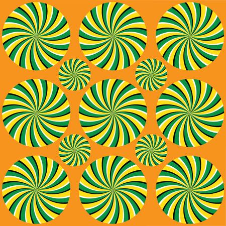 Helix rotatie stralen. Fascinerende optische illusie - de concentrische cirkels bewegen op de een of andere manier. Wervelende radiale achtergrond.