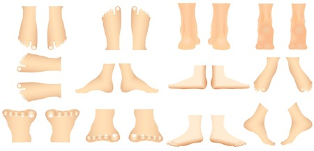 Human foot. Views of a human foot in various gestures for medical use on white background.