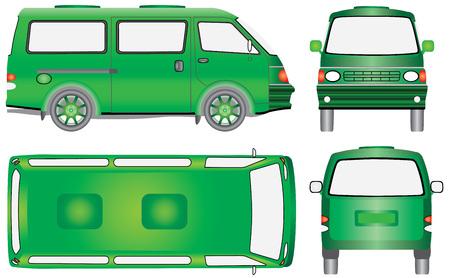 Minibus for passenger and cargo transportation. Modern passenger transport. Vector illustration of a shuttle bus on white background. Tempo traveler concept.