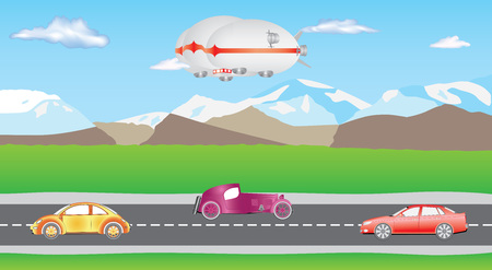 Hybrid airship. Airlander on sky with clouds. Hybrid Air Vehicles. Unmanned Vehicles for Heavy Transport. Long zeppelin - airlander, rigid airship. Cars on two-way road. Cartoon cars driving on a suburban road. Illustration