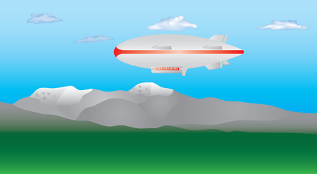 Zeppelin in the sky. Zeppelin airship on sky with clouds. Blimp moving high in the sky. Long zeppelin, rigid airship.