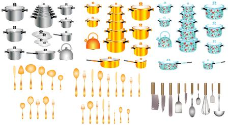 Set of kitchen pots and pans. Kitchen utensils Set. Collection of knives, spoons and scoops. Illustration