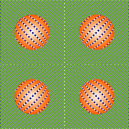 Incredible motion illusions. Movement illusion of ball. Ball rolls along surface. Abstract background with optical illusion of movement, Seamless pattern