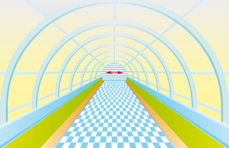 Pedestrian tunnel. Entrance into a long tunnel. Symmetric bright metro hall. Illuminated tunnel with brick tile floor