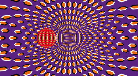 Optical Illusion clipart ball. Optical motion illusion. A sphere are rotation around of a moving hyperboloid. Abstract fantasy in a surreal style. Optical illusion to mess with your head Ilustração
