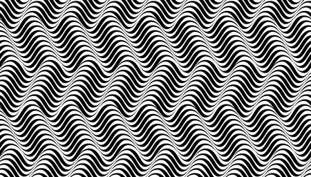 Wavy background - movement illusion. Optical effect mobius wave stripe movement. Seamless pattern. Abstract psychedelic art stripped background design, or geometric zebra texture background.