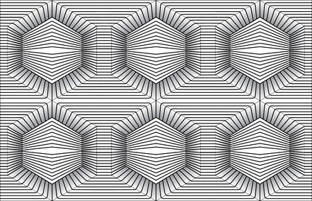 Black and white optical illusion. Optical illusions art. Design seamless twirl movement striped geometric pattern. Abstract monochrome background. Seamless op art background.