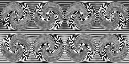 Distorted Lines Background. Illusive movement design. Line art optical art. Psychedelic background. Seamless pattern. Monochrome background. Optical illusion style. Black dark background