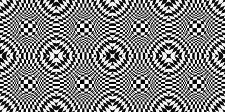 Abstract Optical Illusion. Chess board with psychedelic spherical volume. Contrasty Optical Psychedelic Illusion. Checkered seamless pattern with optical illusion of spherical volume. Animated hypnotic background