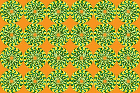 Rotation movement. Rotating Circles. Hypnotic show of rotation. Optical Illusion, Seamless Pattern. Hypnotic Swirly Sphere. Anomalous rotation motion illusion pattern. Psychedelic illusion