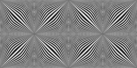 Optical expansion illusion. Motion illusion - swell. Halftone bloat effect optical illusion. Monochrome motion illusions. Checkered seamless pattern with optical illusion of spherical volume, black a